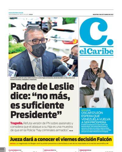 Portada Periódico El Caribe, Martes 05 Octubre, 2021