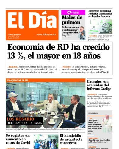 Portada Periódico El Día, Lunes 04 Octubre, 2021