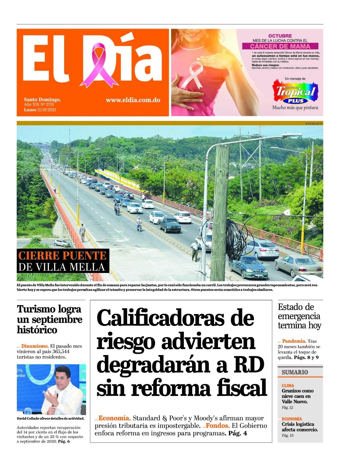 Portada Periódico El Día, Lunes 11 Octubre, 2021