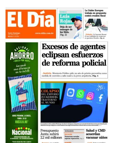 Portada Periódico El Día, Martes 05 Octubre, 2021