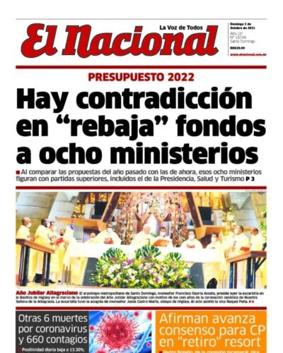 Portada Periódico El Nacional, Domingo 03 Octubre, 2021