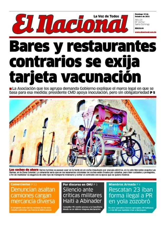 Portada Periódico El Nacional, Domingo 10 Octubre, 2021