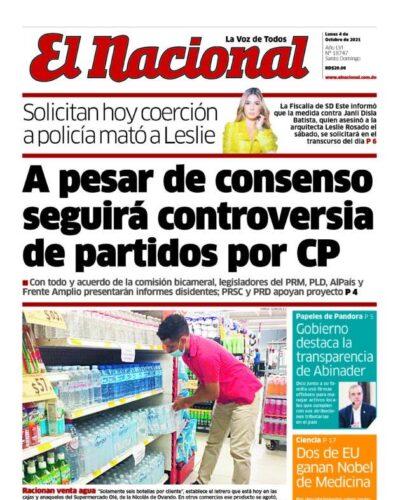 Portada Periódico El Nacional, Lunes 04 Octubre, 2021