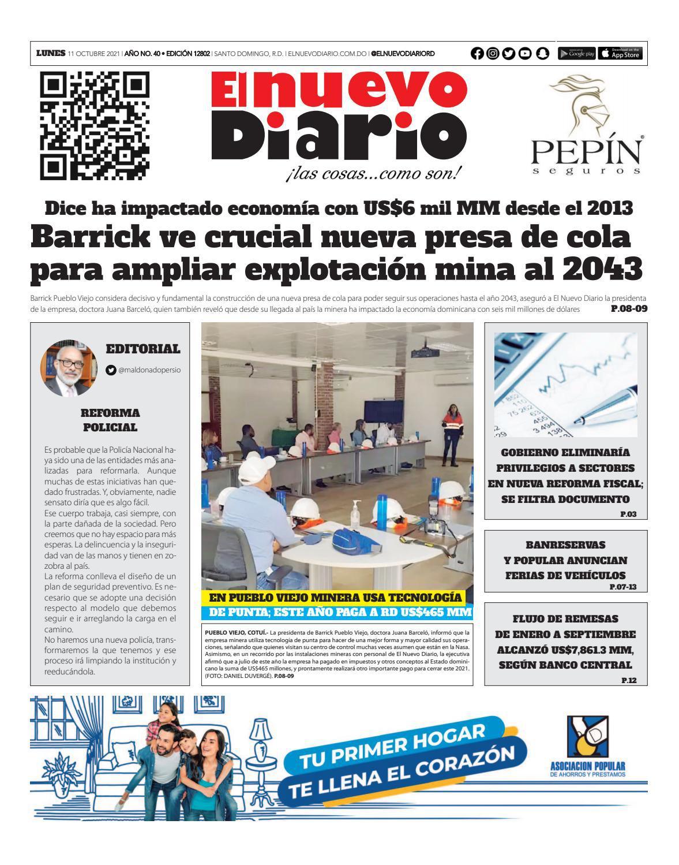 Portada Periódico El Nuevo Diario, Lunes 11 Octubre, 2021