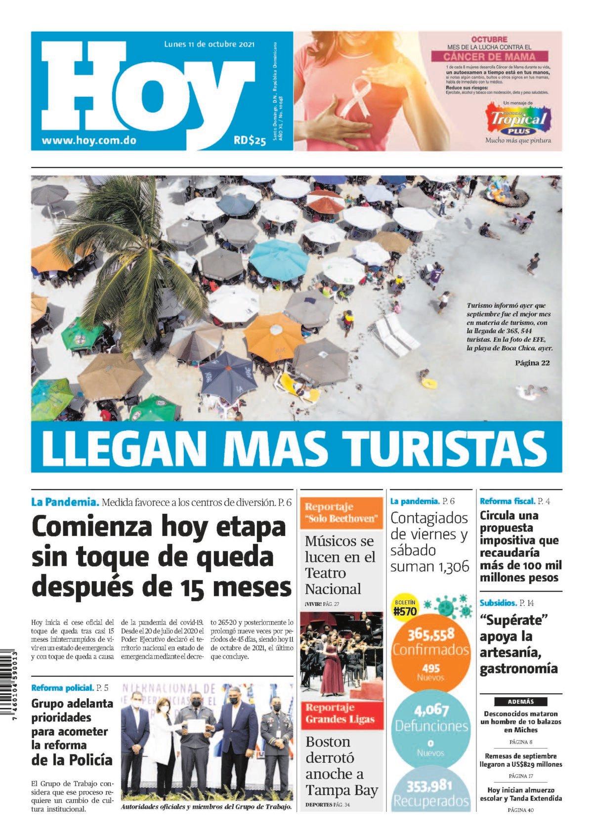 Portada Periódico Hoy, Lunes 11 Octubre, 2021