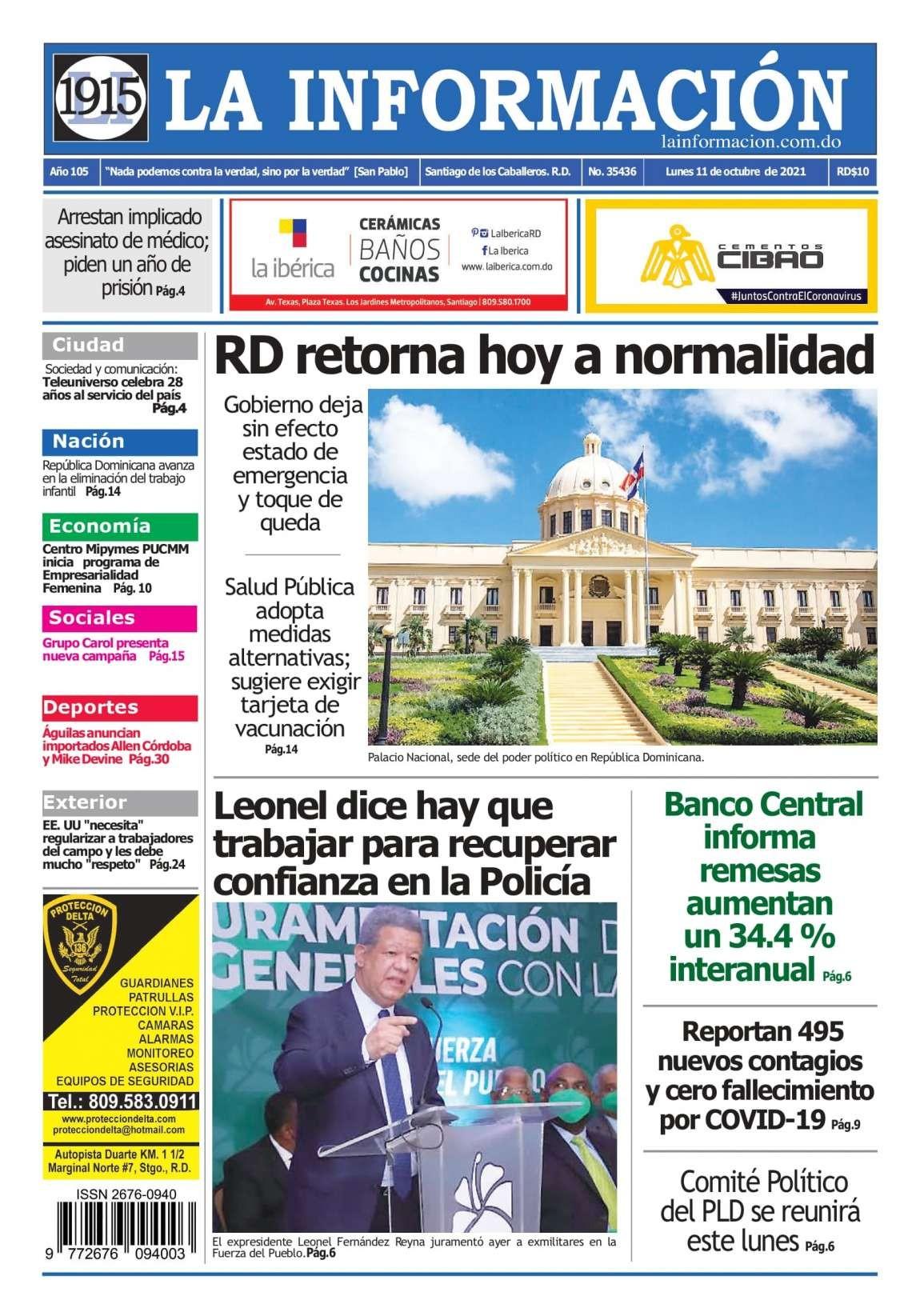 Portada Periódico La Información, Lunes 11 Octubre, 2021