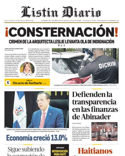 Portada Periódico Listín Diario, Lunes 04 Octubre, 2021