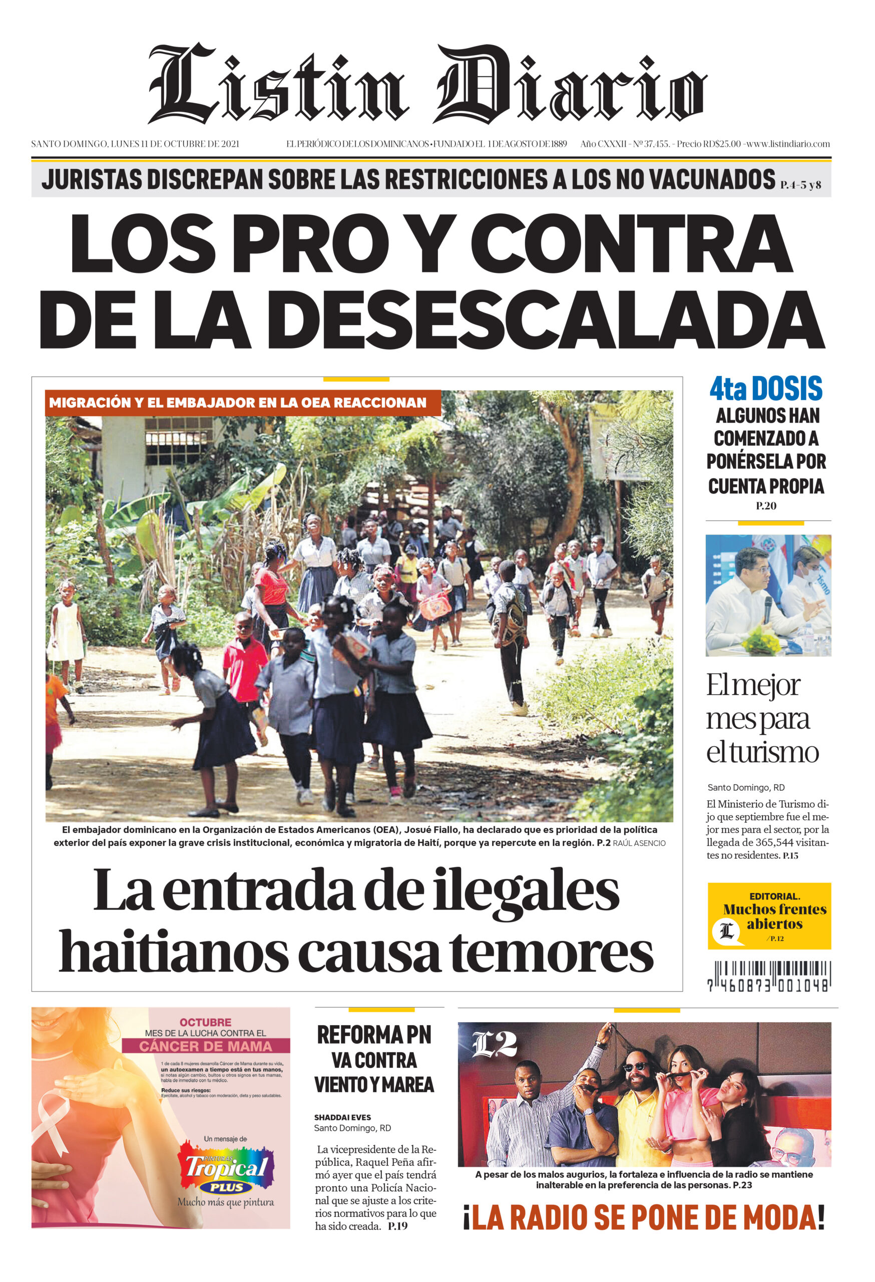 Portada Periódico Listín Diario, Lunes 11 Octubre, 2021