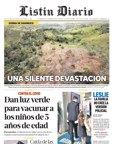 Portada Periódico Listín Diario, Martes 05 Octubre, 2021